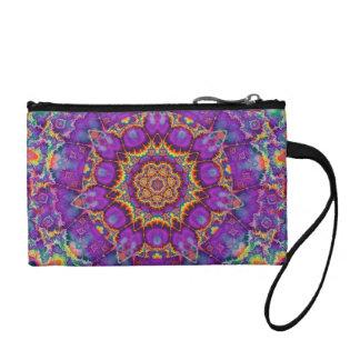 Electric Flower Purple Rainbow Kaleidoscope Art Change Purse