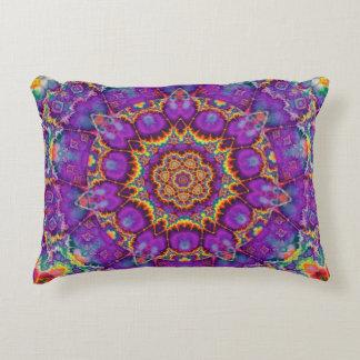 Electric Flower Purple Rainbow Kaleidoscope Art Decorative Pillow
