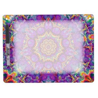 Electric Flower Purple Rainbow Kaleidoscope Art Dry Erase Board With Keychain Holder
