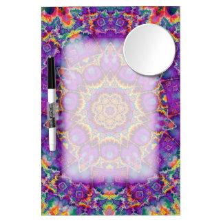 Electric Flower Purple Rainbow Kaleidoscope Art Dry Erase Board With Mirror