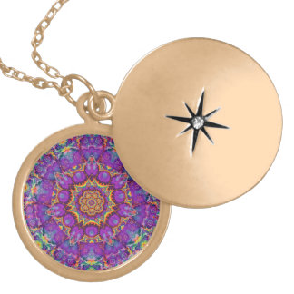 Electric Flower Purple Rainbow Kaleidoscope Art Gold Plated Necklace