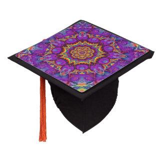 Electric Flower Purple Rainbow Kaleidoscope Art Graduation Cap Topper