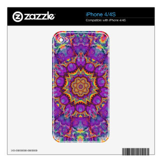 Electric Flower Purple Rainbow Kaleidoscope Art iPhone 4S Decals