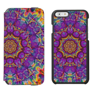 Electric Flower Purple Rainbow Kaleidoscope Art iPhone 6/6s Wallet Case