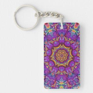 Electric Flower Purple Rainbow Kaleidoscope Art Keychain