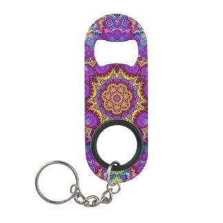 Electric Flower Purple Rainbow Kaleidoscope Art Keychain Bottle Opener