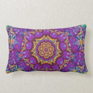 Electric Flower Purple Rainbow Kaleidoscope Art Lumbar Pillow