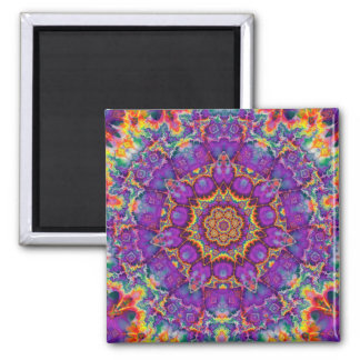 Electric Flower Purple Rainbow Kaleidoscope Art 2 Inch Square Magnet