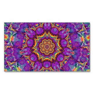 Electric Flower Purple Rainbow Kaleidoscope Art Magnetic Business Card