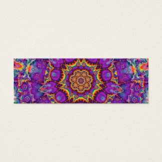 Electric Flower Purple Rainbow Kaleidoscope Art Mini Business Card