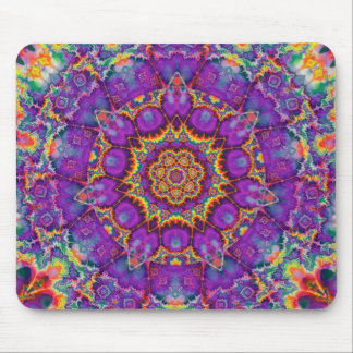 Electric Flower Purple Rainbow Kaleidoscope Art Mouse Pad
