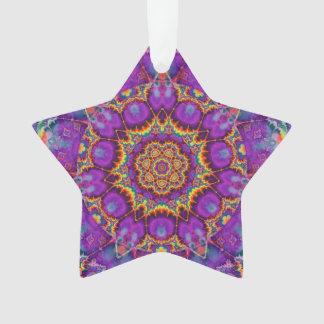 Electric Flower Purple Rainbow Kaleidoscope Art Ornament