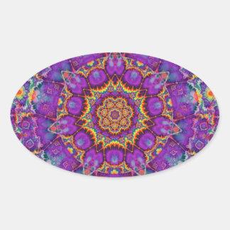 Electric Flower Purple Rainbow Kaleidoscope Art Oval Sticker