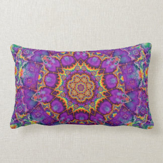 Electric Flower Purple Rainbow Kaleidoscope Art Pillows