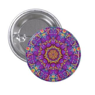Electric Flower Purple Rainbow Kaleidoscope Art Pinback Button