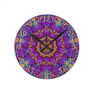 Electric Flower Purple Rainbow Kaleidoscope Art Round Clock