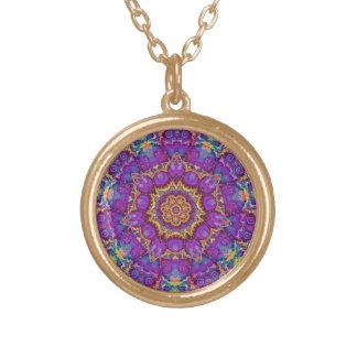 Electric Flower Purple Rainbow Kaleidoscope Art Round Pendant Necklace