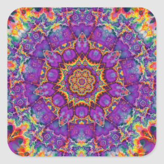 Electric Flower Purple Rainbow Kaleidoscope Art Square Sticker