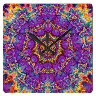Electric Flower Purple Rainbow Kaleidoscope Art Square Wall Clock