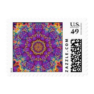 Electric Flower Purple Rainbow Kaleidoscope Art Stamp