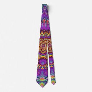 Electric Flower Purple Rainbow Kaleidoscope Art Tie