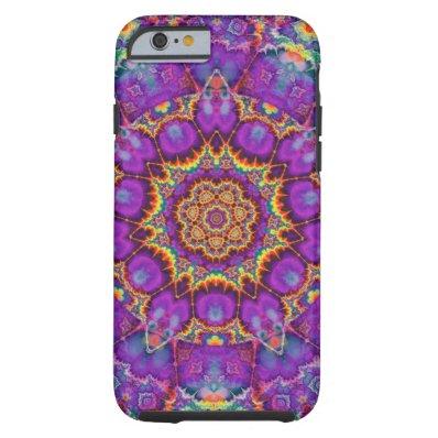 Electric Flower Purple Rainbow Kaleidoscope Art Tough iPhone 6 Case