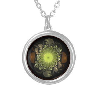 Electric Flower Round Pendant Necklace