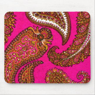 Electric Fuscia Indian Paisley Pink Mouse Pads