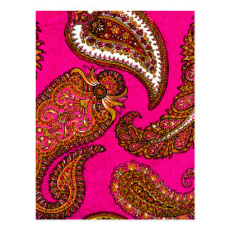 Electric Fuscia Indian Paisley Pink Post Cards