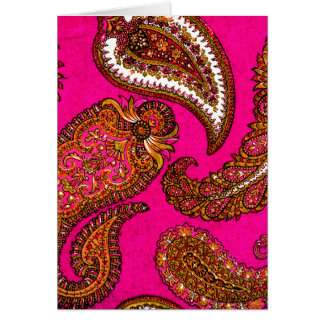 Electric Fuscia Paisley Note Cards