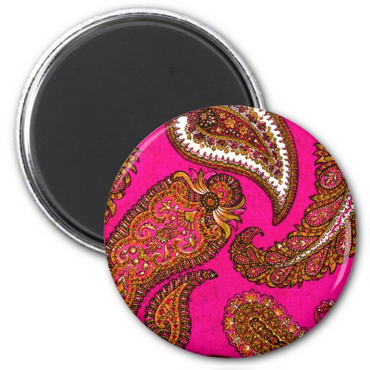 Electric Fuscia Pink Indian Paisley Magnet