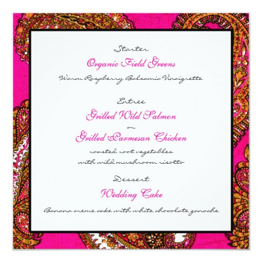 "Electric Fuscia Pink Wedding Reception Menu Card 5.25"" Square Invitation Card"