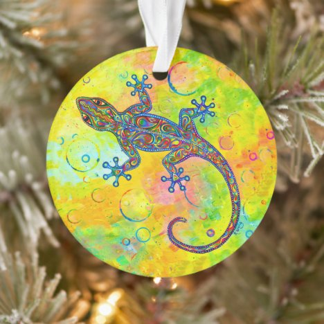 Electric Gecko Psychedelic Lizard Acrylic Ornament