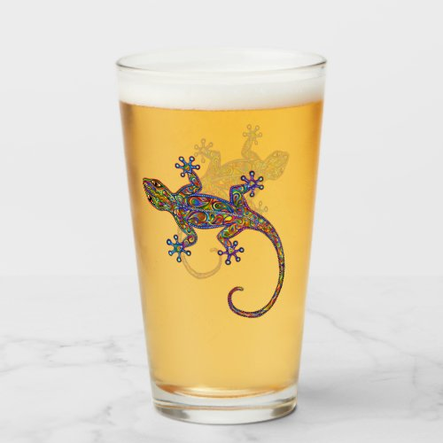 Electric Gecko Psychedelic Lizard Glass Cup