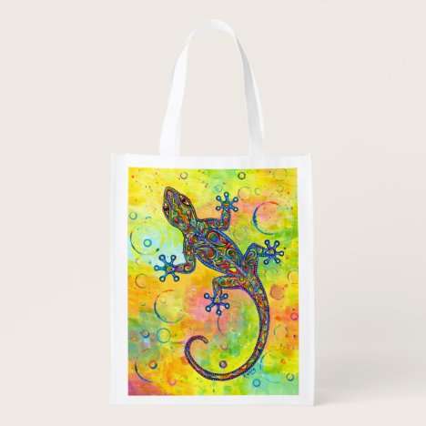 Electric Gecko Psychedelic Lizard Grocery Bag