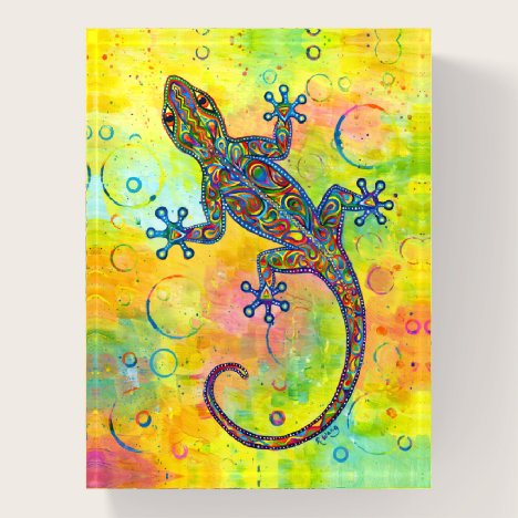 Electric Gecko Psychedelic Lizard Paperweight