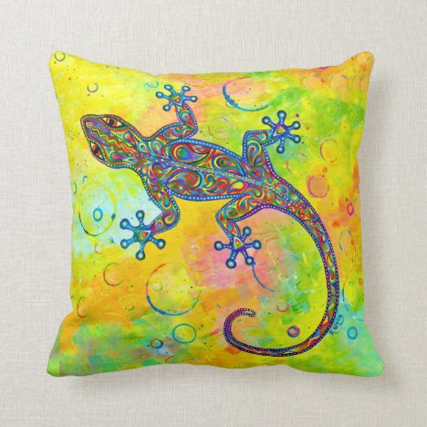 Electric Gecko Psychedelic Lizard Throw Pillow