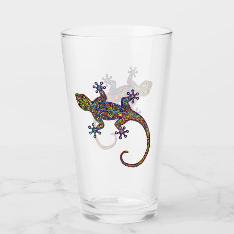 Electric Gecko Psychedelic Paisley Glass Cup
