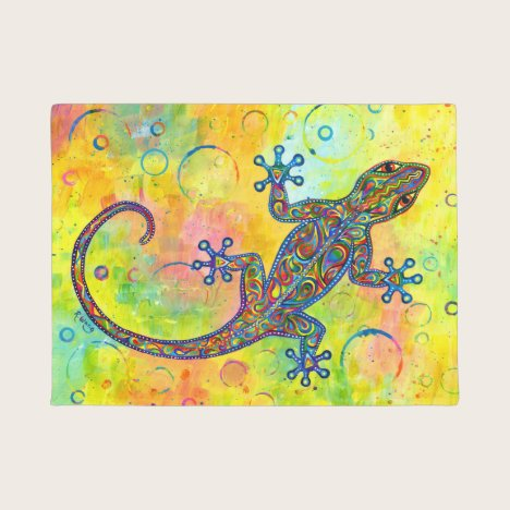 Electric Gecko Psychedelic Paisley Lizard Door Mat