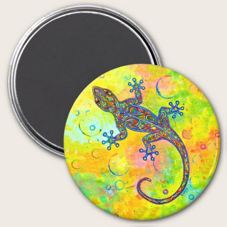 Electric Gecko Psychedelic Paisley Lizard Magnet