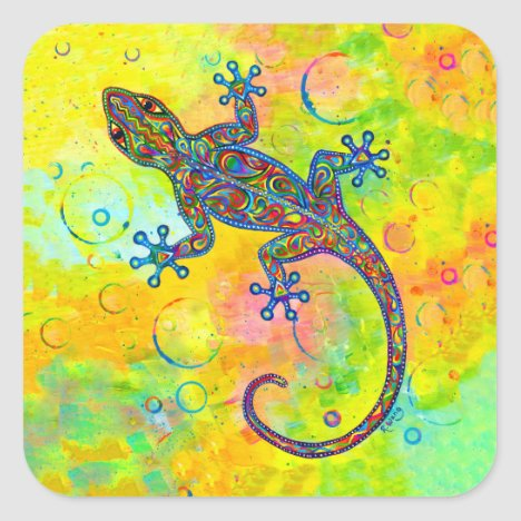 Electric Gecko Psychedelic Paisley Lizard Stickers