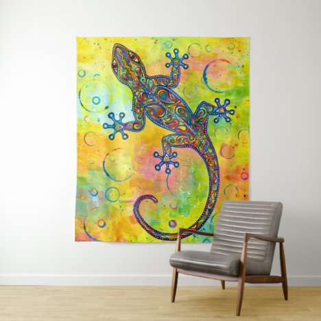 Electric Gecko Psychedelic Paisley Lizard Tapestry