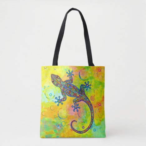 Electric Gecko Psychedelic Paisley Lizard Tote Bag