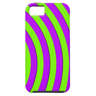 Electric green and neon purple stripes iPhone SE/5/5s case
