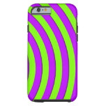 Electric green and neon purple stripes iPhone 6 case