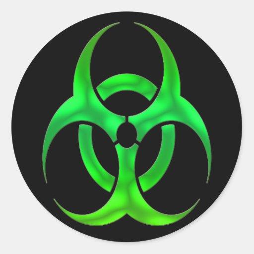 Electric Green Bio Hazard Classic Round Sticker