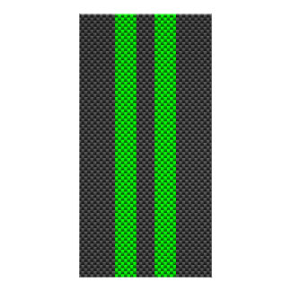 Electric Green Carbon Fiber Style Racing Stripes Card