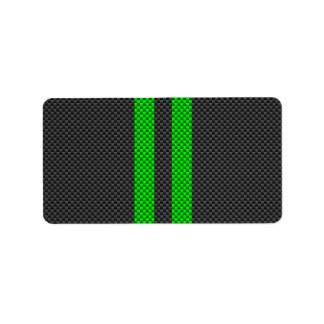 Electric Green Carbon Fiber Style Racing Stripes Label
