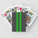 Electric Green Carbon Fiber Style Racing Stripes Bicycle Playing Cards