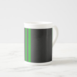 Electric Green Carbon Fiber Style Racing Stripes Tea Cup